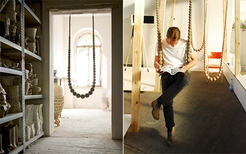 Time for more indoor swings the violet hours Columpio interior