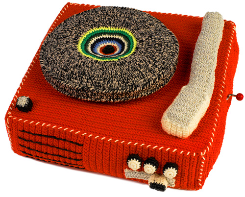 crocheted Record player