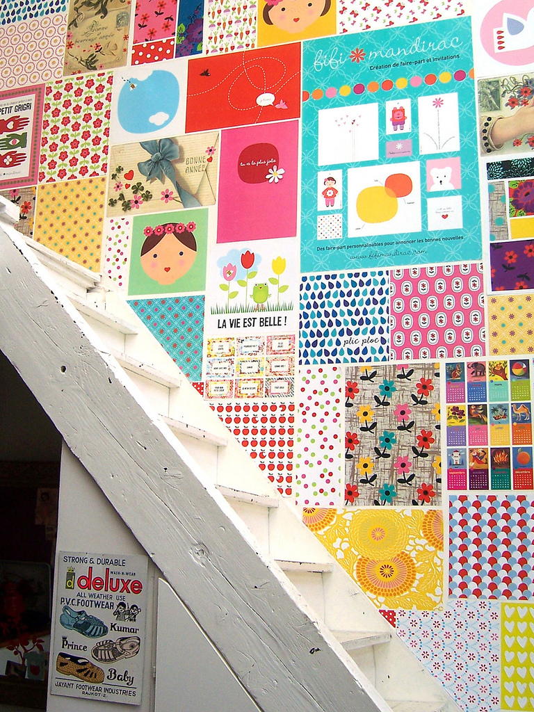 Patchwork-paper-wall