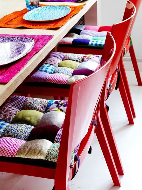 Patchwork-chair-cushions